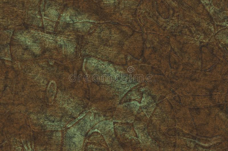 Stamping on metal- oxidized copper plate. Abstract drawing on the surface royalty free stock photography
