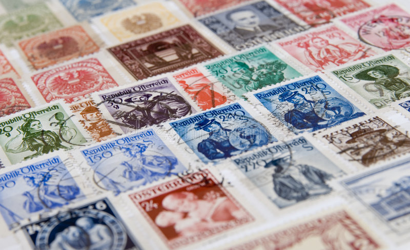 Stamps. My old austria air mail stamps royalty free stock photo