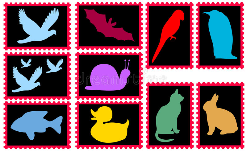 Stamps with animals royalty free stock images