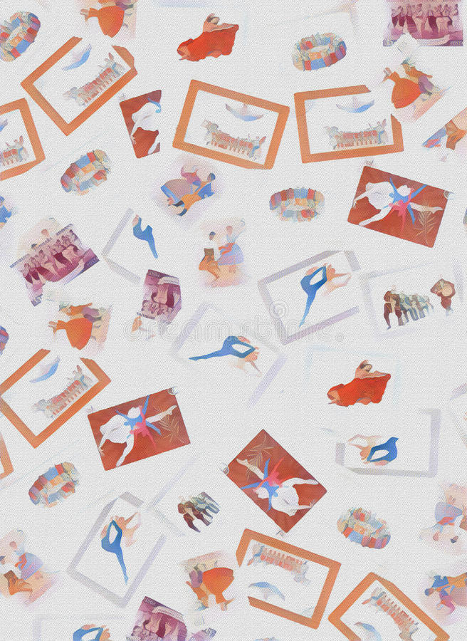 Stamps choreography dance vintage with watercolor effect stock illustration