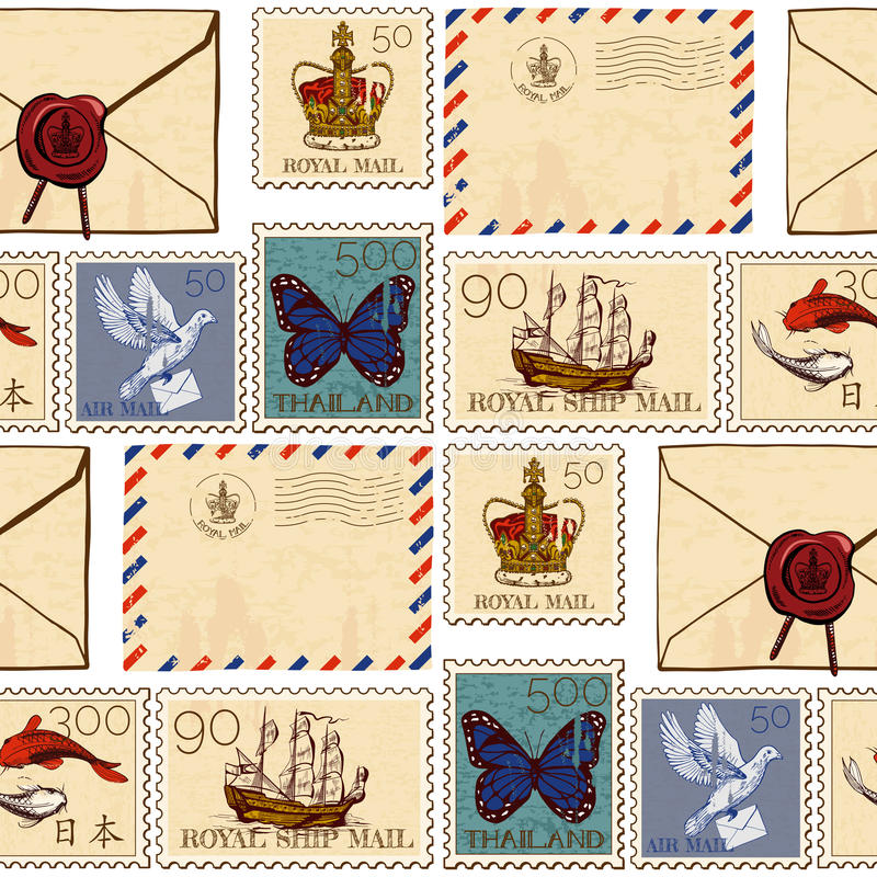 Stamps and envelopes seamless pattern royalty free illustration