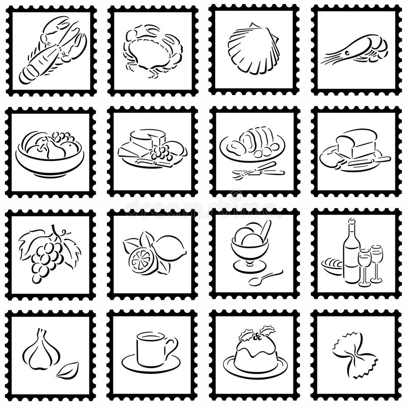 Stamps with food symbols royalty free stock photo