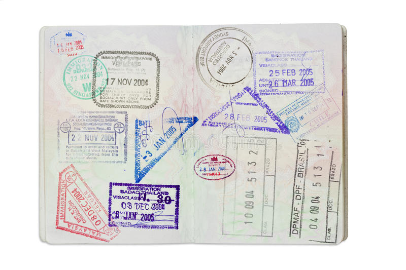 Download Stamps Inside A UK Passport With Clipping Path Stock Photo - Image: 29161856