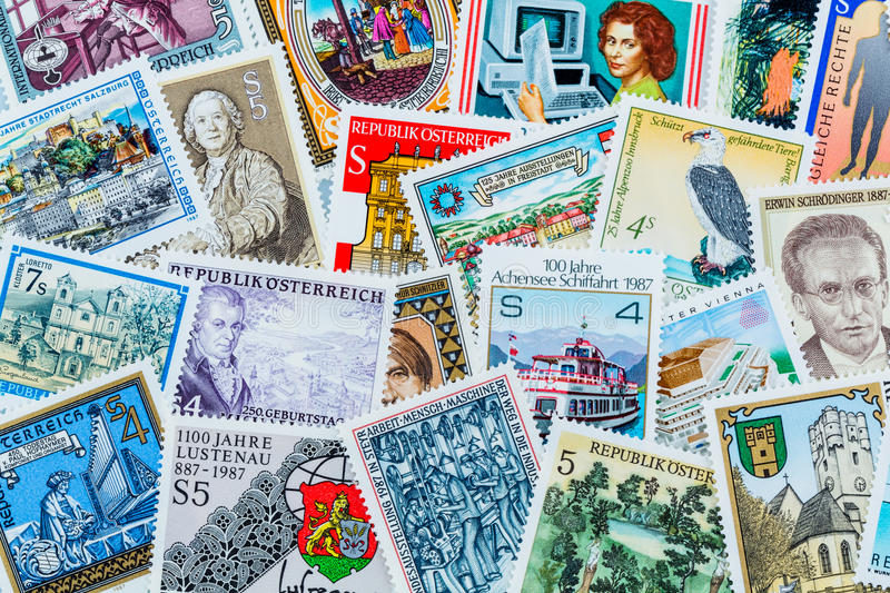 Stamps. Many different stamps are adjacent. collecting as a hobby royalty free stock photos