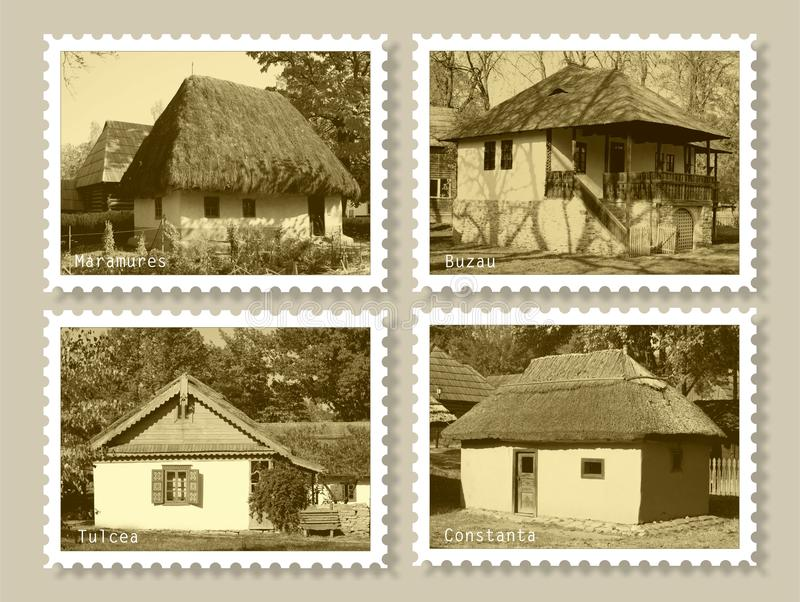 Stamps with old houses stock image