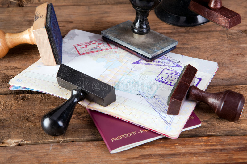 Stamps on passport stock photography