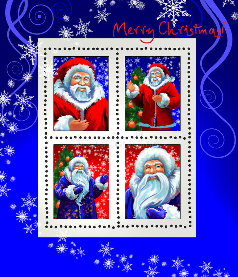 Stamps with Santa Claus and Grandfather Frost