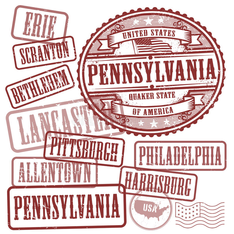 Stamps set with names of cities in State of Pennsylvania vector illustration