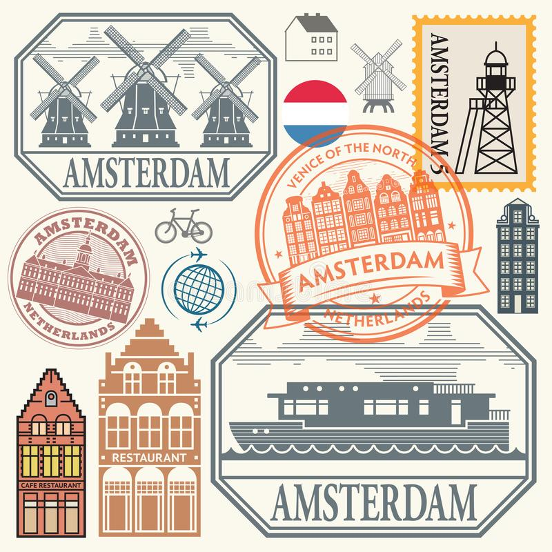 Stamps or symbols set with words Amsterdam, Netherlands. Abstract rubber stamps or symbols set with words Amsterdam, Netherlands inside, vector illustration vector illustration