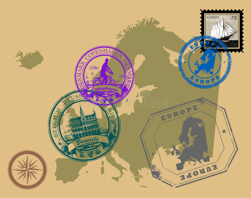 Download Stamps of theme Europe stock vector. Image of insignia - 19821773