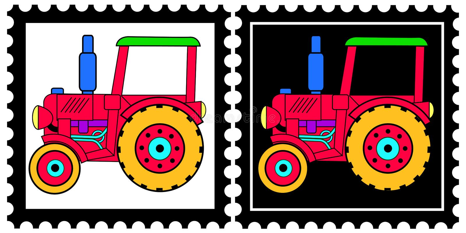 Stamps with tractor. Two stamps with a toy tractor on a black and a white background. Available as Illustrator-file stock illustration