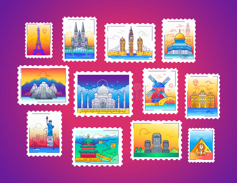 Stamps - vector line travel illustration. Stamps - modern vector line travel illustration of collection. Have a trip, enjoy your vacation. Be on a safe journey royalty free illustration