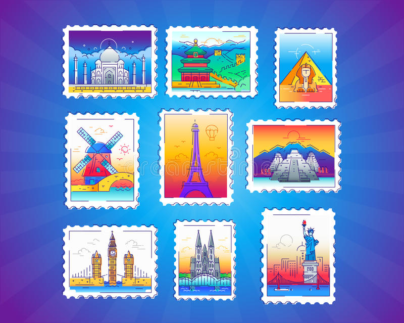 Stamps - vector line travel illustration. Stamps - modern vector line travel illustration of collection. See landmarks - Eiffel tower, Taj Mahal, Great Wall stock illustration