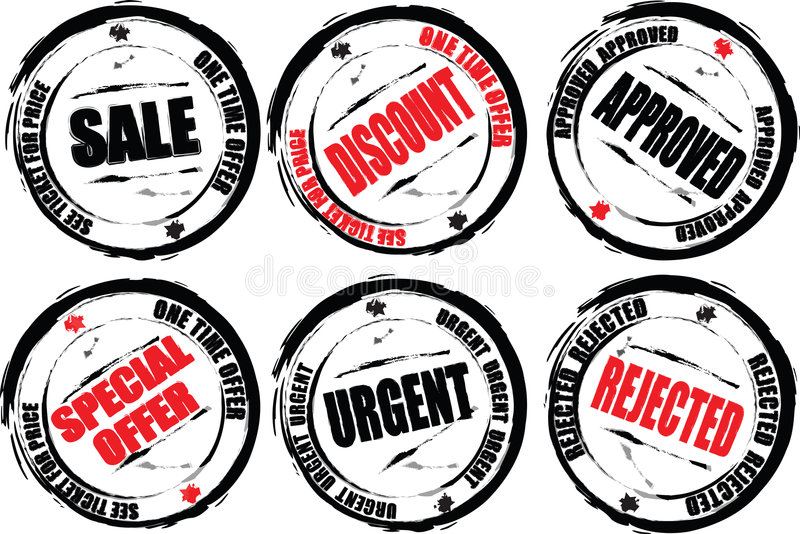 Download Stamps worn red stock illustration. Image of sale, discount - 1752449