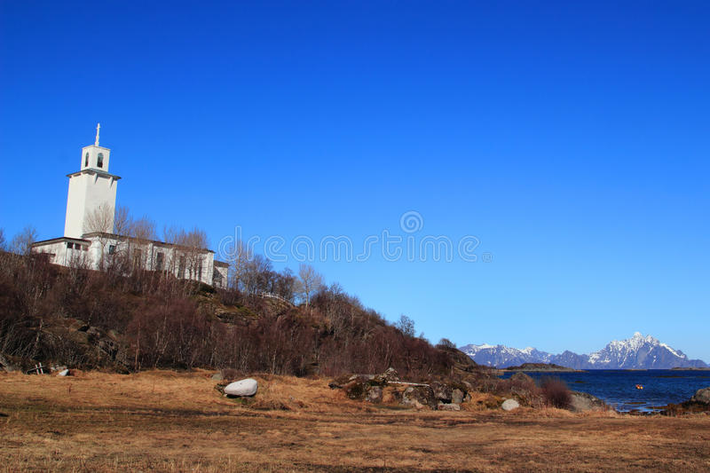 Stamsund church under deep blue sky. Church near the shores of Stamsund in Lofoten stock photography