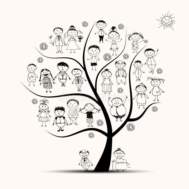 Stamträd släktingar, folk skissar stock illustrationer