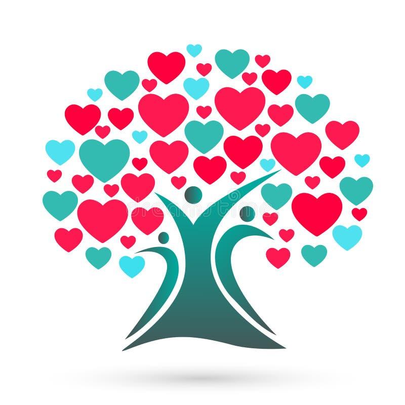 Stamträdlogo, familj, förälder, ungar, hjärta, förälskelse, barnuppfostran, omsorg, vektor för symbolsymbolsdesign royaltyfri illustrationer