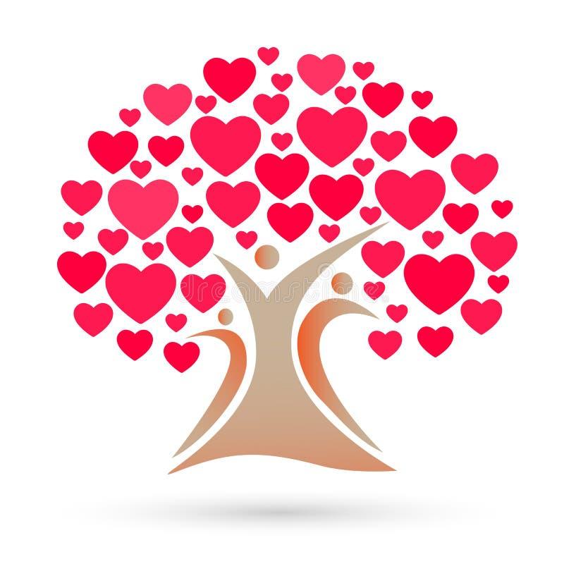 Stamträdlogo, familj, förälder, ungar, röd hjärta, förälskelse, barnuppfostran, omsorg, vektor för symbolsymbolsdesign royaltyfri illustrationer
