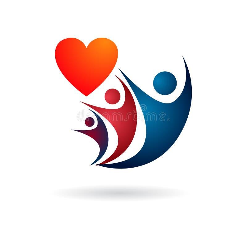 Stamträdlogo, familj, förälder, unge, röd hjärta, barnuppfostran, omsorg, cirkel, hälsa, utbildning, illustration för symbolsymbo stock illustrationer