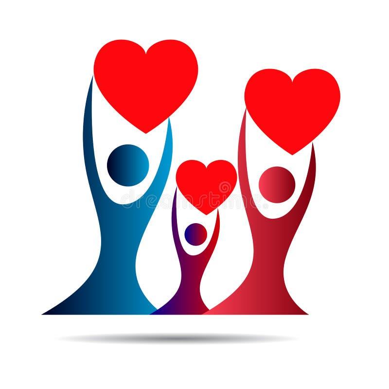 Stamträdlogo, familj, förälder, unge, röd hjärta, barnuppfostran, omsorg, cirkel, hälsa, utbildning, vektor för symbolsymbolsdesi royaltyfri illustrationer