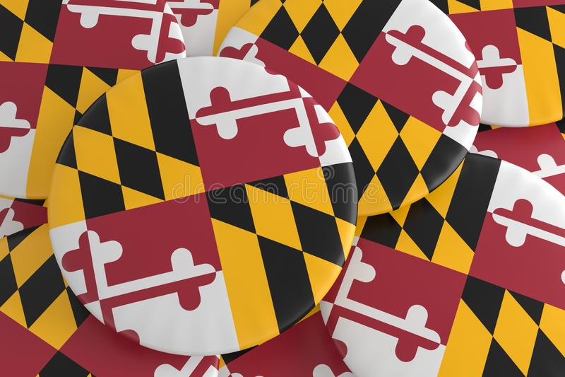 stanów USA guziki: Stos Maryland flagi odznak 3d ilustracja royalty ilustracja