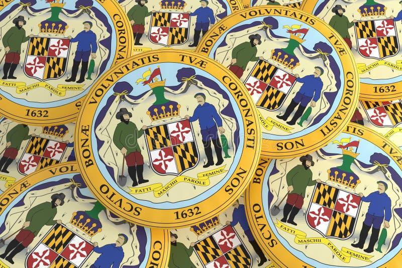 stanów USA guziki: Stos Maryland foki odznak 3d ilustracja ilustracji