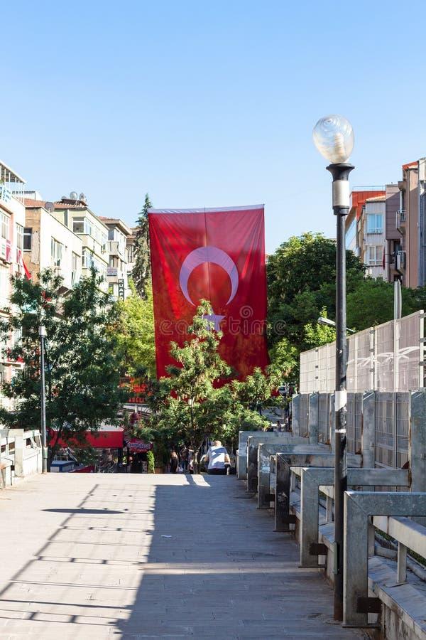 Stan flaga na ulicie w Ankara mieście zdjęcia royalty free