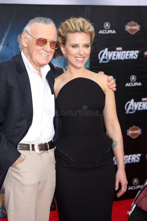 Stan Lee, Scarlett Johansson stock foto