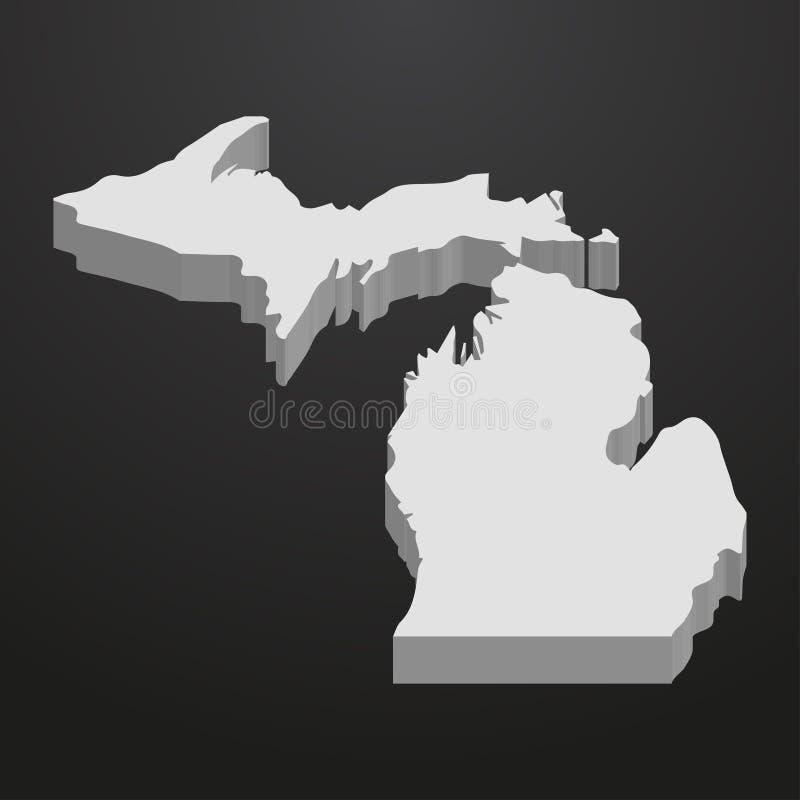 Stan Michigan mapa w szarość na czarnym tle 3d ilustracji