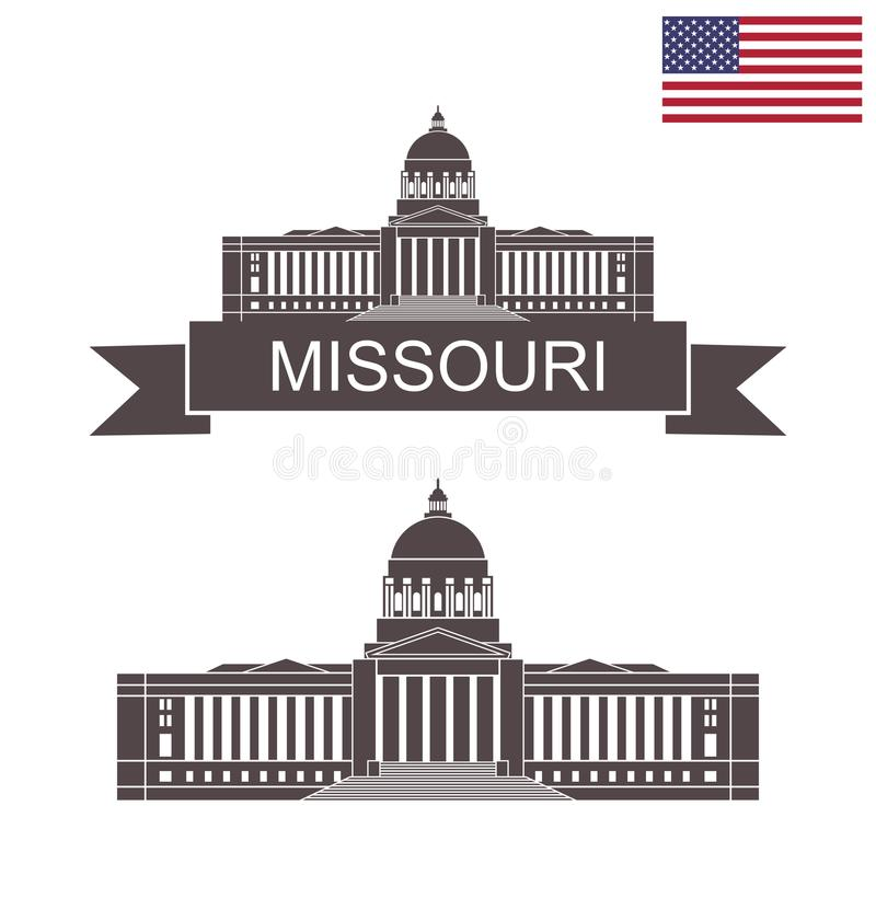 stan missouri Missouri stanu Capitol budynek w Jefferson City Missouri royalty ilustracja