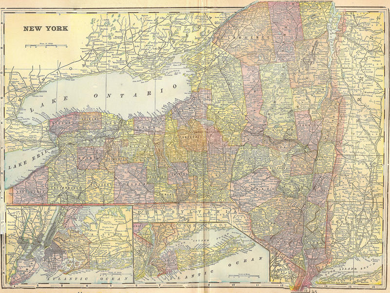 Stan Nowy Jork rocznik mapa 1896 ilustracja wektor