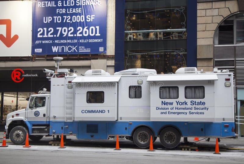 Stan Nowy Jork stan nowy jork podział departamentu bezpieczeństwa krajowego i słóżba ratownicza mobilny centrum dowodzenia podczas zdjęcia royalty free