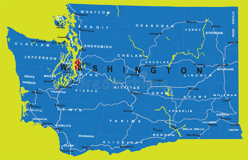 Stan polityczna Waszyngton mapa ilustracji