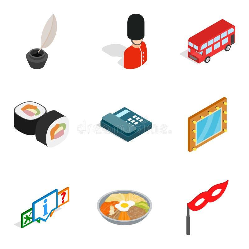 Stan rzeczy ikony ustawiać, isometric styl ilustracji