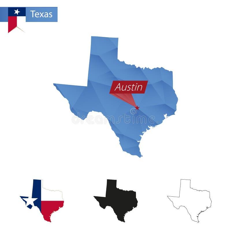 Stan Teksas błękitna Niska Poli- mapa z kapitałem Austin ilustracja wektor
