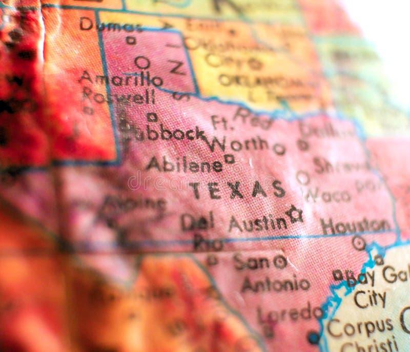 Stan Teksas usa ostrości makro- strzał na kuli ziemskiej mapie dla podróż blogów, ogólnospołecznych środków, sieć sztandarów i tł obrazy stock