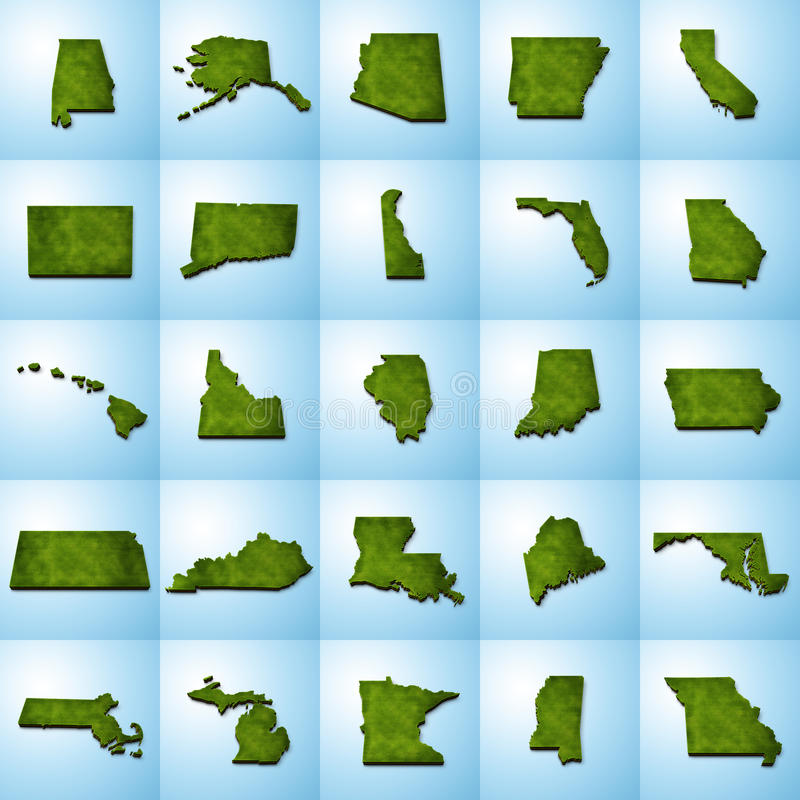 stan USA Kartografuje set Ja ilustracja wektor