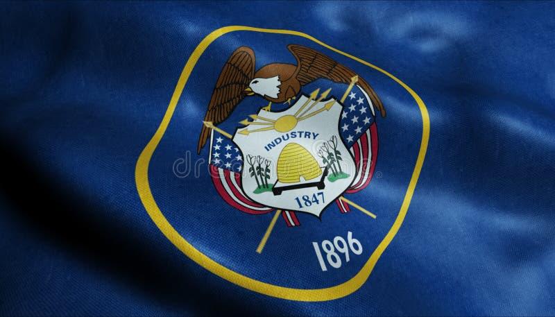 Stan Utah flaga w 3D ilustracji