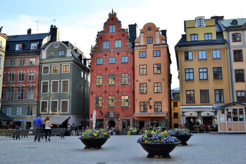 Stan Van de binnenstad van Stockholm Zweden Gamla stock fotografie