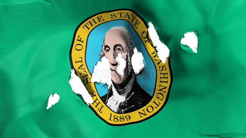 Stan Washington flaga dziurkująca, dziura po kuli ilustracja wektor