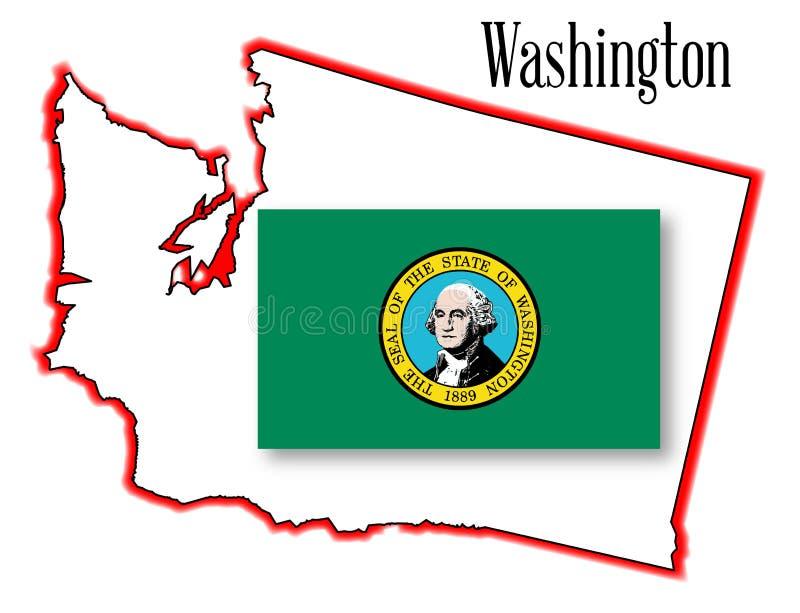 Stan Washington flaga i mapa royalty ilustracja
