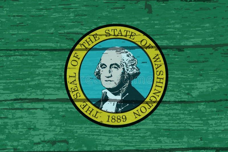 Stan Washington flaga Na Starym szalunku royalty ilustracja
