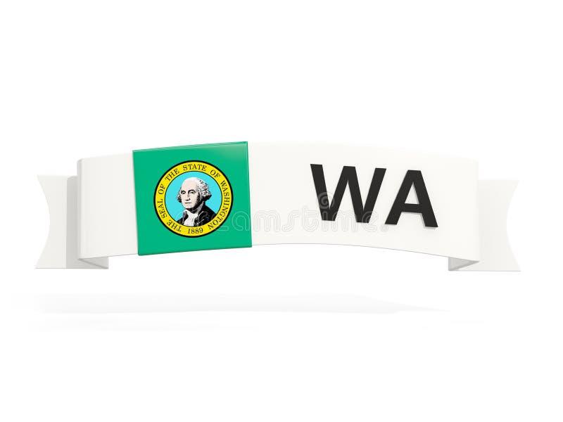 Stan Washington flaga na sztandarze z pocztowym skrótem odizolowywa ilustracja wektor