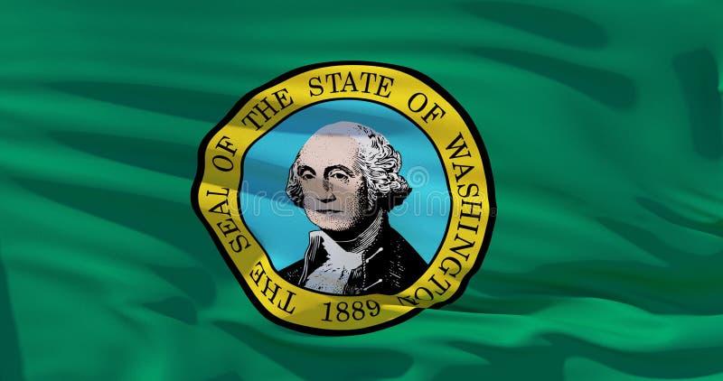 Stan Washington flaga, Stany Zjednoczone Ameryka Realistyczna ilustracja 3d ilustracja wektor