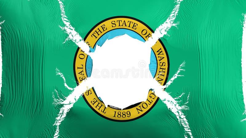 Stan Washington flaga z dziurą ilustracja wektor