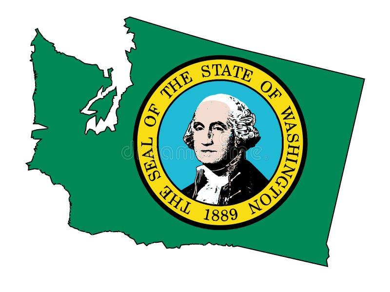 Stan Washington konturu flaga I mapa ilustracja wektor