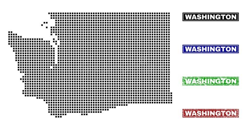 Stan Washington mapa w kropka stylu z Grunge tytułu znaczkami royalty ilustracja