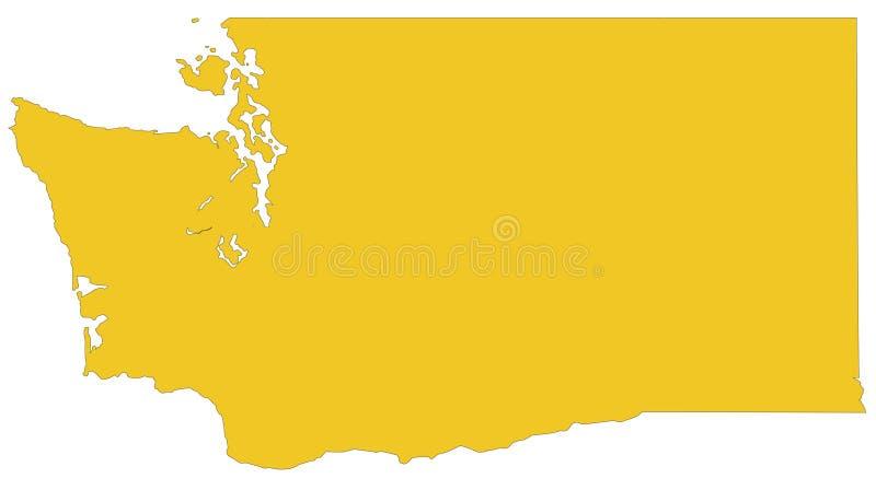 Stan Washington mapa - stan w Pacyficznym północnego zachodu regionie Stany Zjednoczone ilustracji