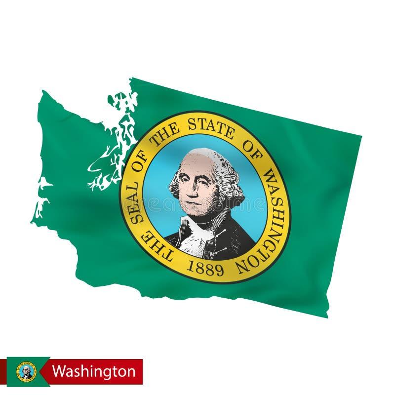 Stan Washington mapa z falowanie flaga stan usa ilustracja wektor