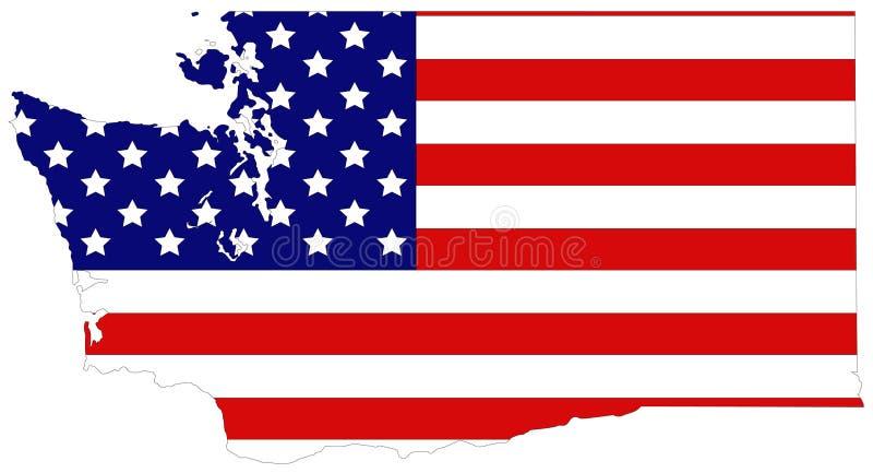 Stan Washington mapa z usa flaga - stan w Pacyficznym północnego zachodu regionie Stany Zjednoczone ilustracji